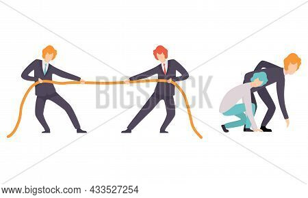 Business And Career Competition With Man Office Worker Pulling Rope And Starting Sprint Race Vector
