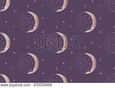 Abstract Background Seamless Pattern Girl And Moon