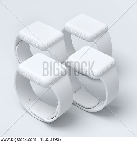 Set Of Monochrome Smart Watches With Colorful Straps On White Background.