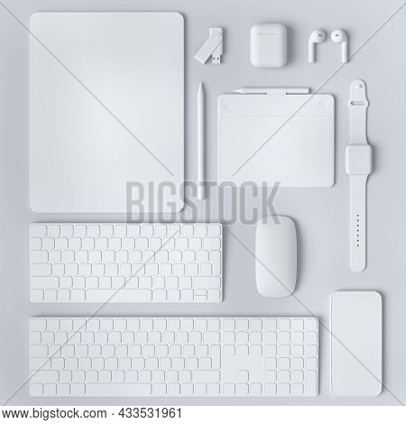 Monochrome Computer Tablet With Keyboard, Mouse And Phone Isolated On White