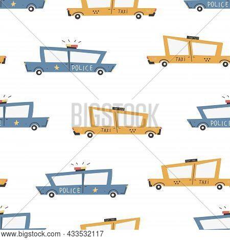 Children's Pattern With Cars. Cars. Transport. Road. Vector Hand-drawn Color Seamless Repeating Chil