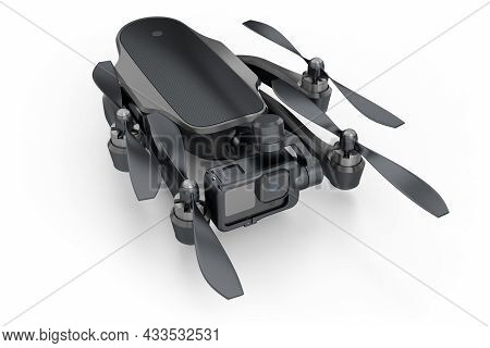 Flying Photo And Video Drone Or Quad Copter With Action Camera Isolated On White