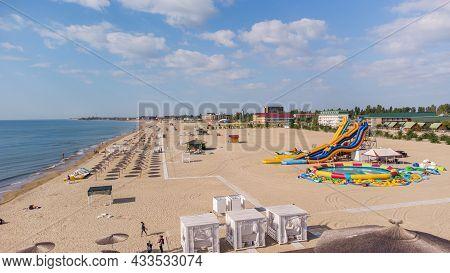 Zatoka, Odessa, Ukraine - September 4, 2021: Colorful Scene Of The Black Sea Beach During The Closin