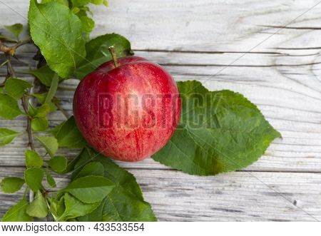 Red Apple And Green Leaves On Rustic Wooden Background. Autumn Background. Thanksgiving. Food Backgr