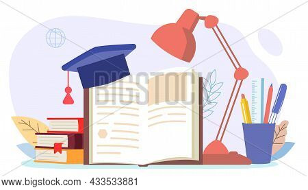 Books And Reading Set Table Lamp With Open Book And Student Hat On An Isolated White Background Worl