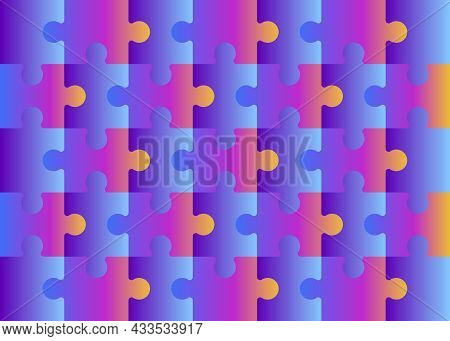 Set Of Multicolored Puzzle Pieces Isolated Jigsaw Puzzle 35 Multicolor Separate Pieces Mosaic Detail