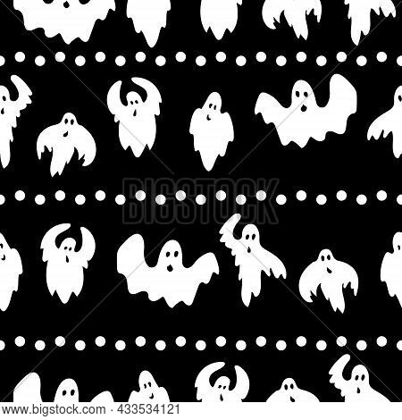 Seamless Pattern Of Horizontally Arranged Flying Ghosts And Dots, White Spirits In Doodle Style On A