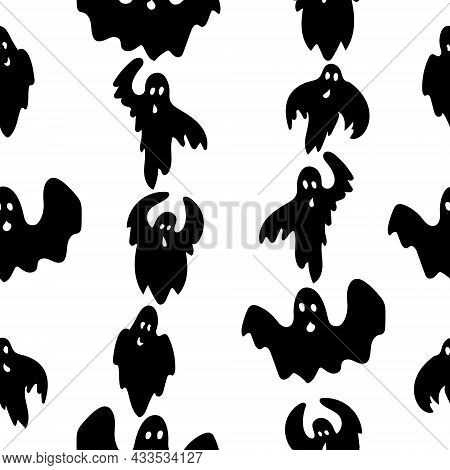 Seamless Pattern Of Vertically Arranged Flying Ghosts, Black Spirits In Doodle Style On A White Back