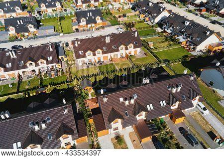 Modern Residential District In Europe Town, Aerial View. Residential Neigborhood, Bird Eye View. Cit