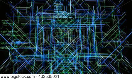 Electronic Circuit Lines. Motion. Animation Of Three-dimensional Moving Lines In Neural Circuit Of C