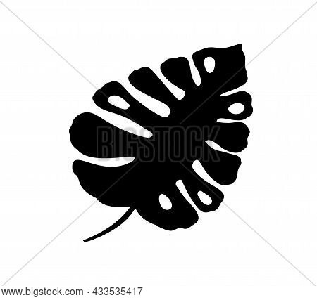 Cute Monstera Leaf Summer Doodle Icon Logo Cutout. Vector Scandinavian Design Tropical Element For Y
