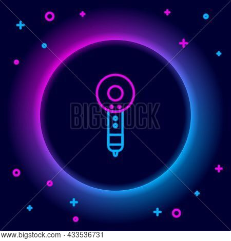Glowing Neon Line Hair Dryer Icon Isolated On Black Background. Hairdryer Sign. Hair Drying Symbol.