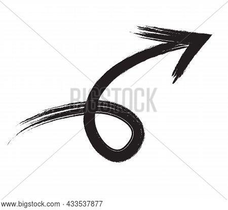 Black Hand Drawn Brush Stroke Arrow Isolated On White. Vectpr Illustration