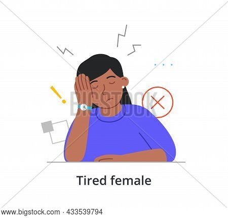 Tired Female Character Is Sitting At Work With Eyes Closed On White Background. Concept Of People Ti