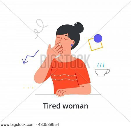 Exhausted Female Character Is Yawing At Work And Craving A Cup Of Coffee To Stay Awake On White Back