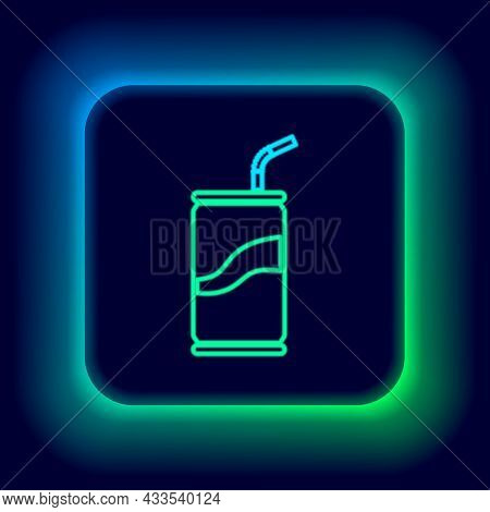 Glowing Neon Line Soda Can With Drinking Straw Icon Isolated On Black Background. Colorful Outline C