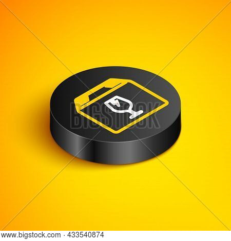 Isometric Line Delivery Package Box With Fragile Content Symbol Of Broken Glass Icon Isolated On Yel