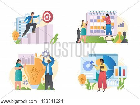 Set With Male And Female Characters Working On Strategic Business Planning On White Background. Conc