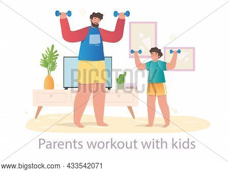 Cute Male Character Is Doing Workout With His Little Son At Home On White Background. Parents Helpin