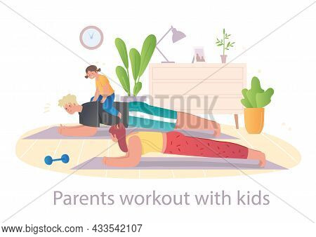 Male And Female Characters Are Happy To Workout With Their Little Child At Home On White Background.
