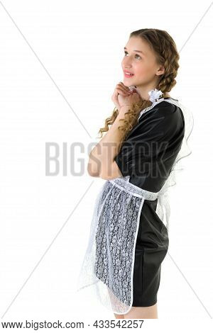 Happy Dreaming Teen Girl In Retro School Uniform. Portrait Of Beautiful Graduate Girl With Two Curly