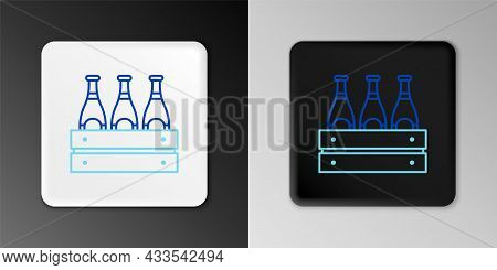 Line Pack Of Beer Bottles Icon Isolated On Grey Background. Wooden Box And Beer Bottles. Case Crate