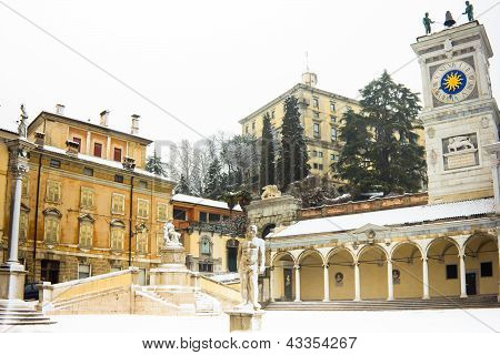 Castel Of Udine With Snow