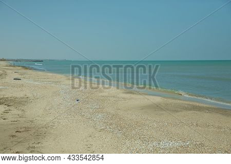 Crystal Clear Water, White Sand Beach, Perfect At Tanjung Karang Beach . Blue Sea And Sky With Beach