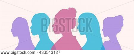 Set Of Colorful Silhouette Of College Female Students Or Schoolchildren On Pastel Background. Concep