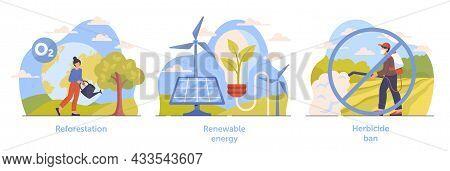 Set Of Scenes Necessary For Climate Change Deceleration On White Background. Reforestation, Renewabl