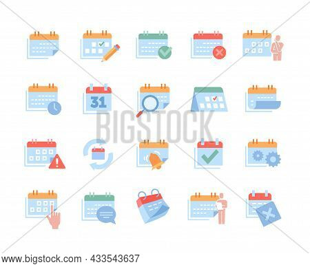 Collection Of Colorful Office Work Related Essential Icons On White Background. Set With Appointment