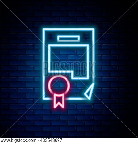 Glowing Neon Line Certificate Template Icon Isolated On Brick Wall Background. Achievement, Award, D