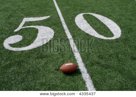 American Football Near The Fifty Yardline