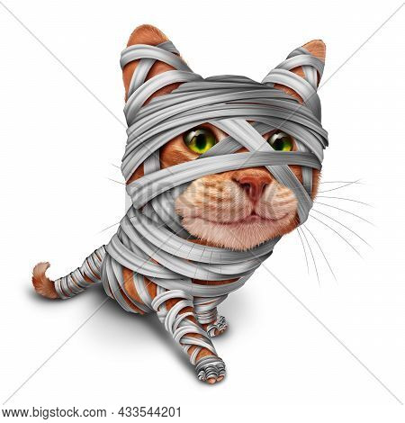 Halloween Cat Mummy As A Feline Dressed As A Zombie Kitten Character In A 3d Illustration Style On A