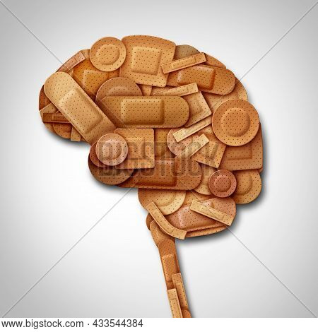 Brain Recovery Concept And Healing Of The Mind As Mental Health Therapy Symbol As Diverse Bandage An