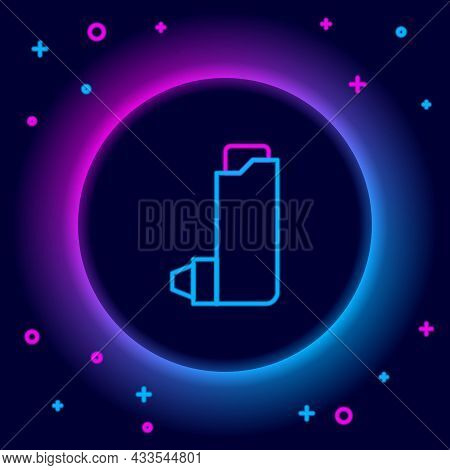 Glowing Neon Line Inhaler Icon Isolated On Black Background. Breather For Cough Relief, Inhalation,