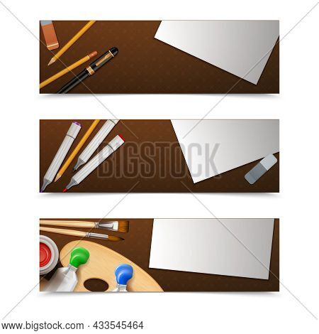 Drawing Banners Horizontal Set With Painter Tools And Paper Sheets Isolated Vector Illustration