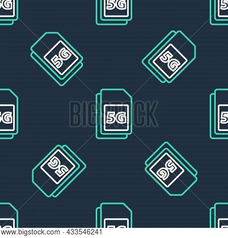 Line 5g Sim Card Icon Isolated Seamless Pattern On Black Background. Mobile And Wireless Communicati