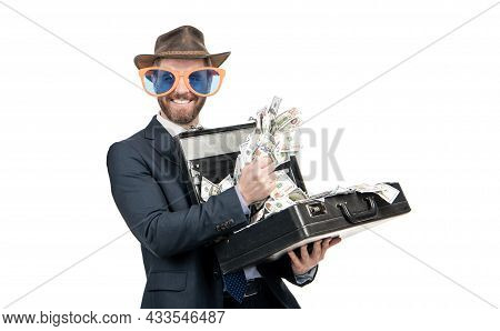 You Win. Happy Man Hold Suitcase With Money Win. Jackpot Winner. Lottery Prize. Wealth And Riches