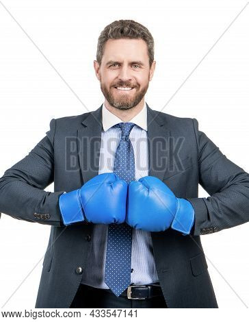 Happy Man Boss Hold Boxing Gloves Together Ready To Fight Isolated On White, Fighting