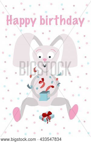 Birthday Greeting Card Template. A Cute Hare Who Opens A Box With A Gift And Is Surprised. Vector Il