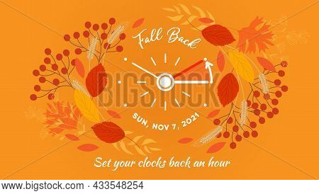Daylight Saving Time Ends Banner. Changing The Time On The Watch To Winter Time, Fall Backward Conce