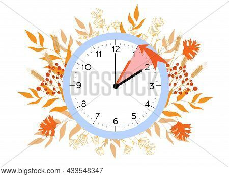 Daylight Saving Time Ends. Vector Illustration With A Clock Turning An Hour Back. Clocks In A Floral