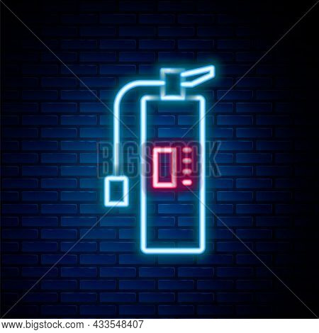 Glowing Neon Line Fire Extinguisher Icon Isolated On Brick Wall Background. Colorful Outline Concept