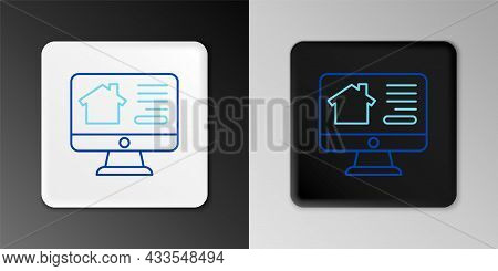 Line Online Real Estate House On Monitor Icon Isolated On Grey Background. Home Loan Concept, Rent,