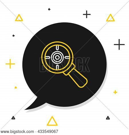 Line Target Financial Goal Concept With Magnifying Glass Icon Isolated On White Background. Symbolic