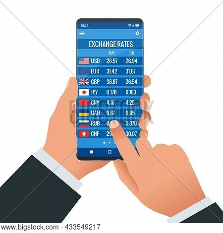 Online Bank Information Board With Different Flags And Currency For Buy Or Sell. Foreign Currency Ex
