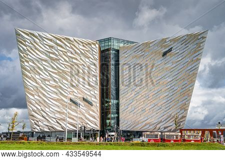 Belfast, Uk, Aug 2019 Front View On Majestic Building Of Titanic Museum, Located In The Citys Titani