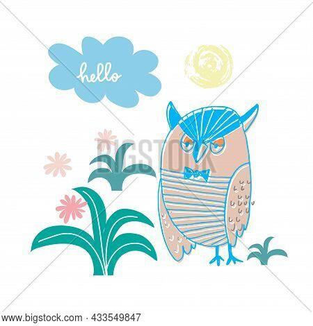 Cute Cartoon Owl In Cartoon  Style. Text Slogan