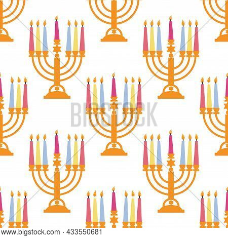 Holiday Traditional Seamless Pattern  With Golden Menorah Candelabrum  With Colorful Candles.  Perfe